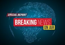 Breaking News Vector Banner on Bright Earth Glowing Globe Background. TV News Opener. Broadcast Design Layout Stock Photos