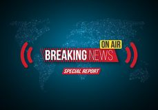 Breaking News Vector Banner on Bright Earth Glowing Globe Background. TV News Opener. Broadcast Design Layout Stock Image