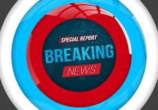 Breaking News Vector Banner on Bright Earth Glowing Globe Background.  Stock Photography