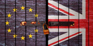 Illustration of Brexit, Flags  the United Kingdom, the European Union and gate unlock Royalty Free Stock Photography