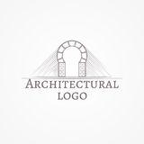 Illustration of brick round arch icon with text Royalty Free Stock Photos