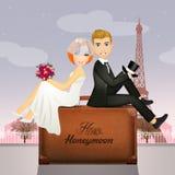 Happy honeymoon. Illustration of bride anfd groom in the happy honeymoon vector illustration