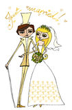 Illustration of bride and groom Royalty Free Stock Images
