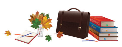 Illustration of a briefcase, a bouquet of leaves, pencils, notebooks and books. Royalty Free Stock Images