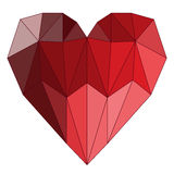 Illustration with bright colored geometric abstract polygonal heart for valentines day or wedding greeting card Royalty Free Stock Photo