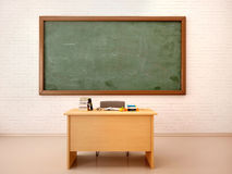illustration of bright empty classroom with blackboard and te