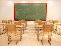 Illustration of bright empty classroom with desks and chairs Stock Photos