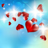 Illustration of a bright flow hearts. Royalty Free Stock Image