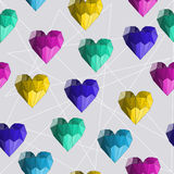 Illustration with bright geometric abstract polygonal hearts for use in design for valentines day or wedding. Seamless pattern. Illustration with bright colored royalty free illustration