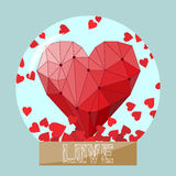 Illustration with bright geometric heart in glass ball for use in design for valentines day or wedding greeting card Stock Photography