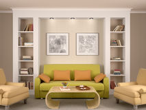 Illustration of bright interior decorated living Stock Photography