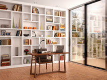 Illustration of bright interior library office. 3d illustration of bright interior library office with white shelves and a large window stock illustration