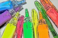 Markers, and colored tubes of paint on a white background. royalty free stock photos