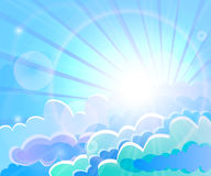 Illustration bright picture of the sunlight streaming through blue clouds. Illustration of a bright picture of the sunlight streaming through blue clouds Stock Photo