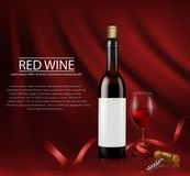 Realistic illustration. poster with glass wine bottl and glass with red wine. Illustration, bright realistic poster with glass wine bottles and glass with red stock photography