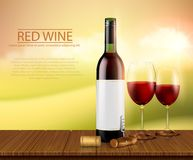 Realistic illustration, poster with glass wine bottl and glasses with red wine. Illustration, bright realistic poster with glass wine bottles and glasses with royalty free stock image