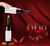 Illustration of a hand holding a glass wine bottle and pouring red wine into a glasses. Illustration, bright realistic poster with a hand holding a glass wine stock photo