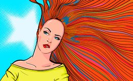 Woman with red hair biting lip.  illustration of bright redhead woman biting red lip on blue background. Retro pop art. Illustration of bright redhead woman Royalty Free Stock Photo
