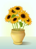 Illustration of bright sunflowers Royalty Free Stock Image