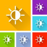 Brightness icons with long shadow. Illustration of brightness icons with long shadow Stock Images