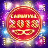 Illustration brillamment colorée pour le carnaval 2018 Images stock