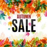 Illustration brillante d'Autumn Leaves Sale Background Vector Images libres de droits