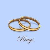 Illustration brillante de vecteur d'anneau de mariage d'or sur le fond bleu Photos libres de droits