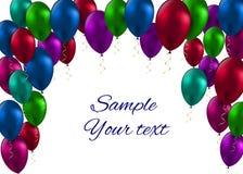 Illustration brillante de vecteur de carte de ballons de couleur Photo libre de droits