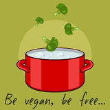 Illustration with broccoli and red. Be vegan, be free - illustration with broccoli and red pan Stock Images