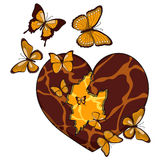 Illustration with a broken heart and butterflies. Royalty Free Stock Photography