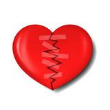 Illustration of broken heart with plaster Royalty Free Stock Images