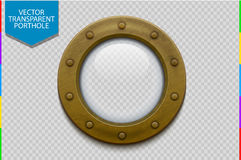 Illustration of a bronze or brass ship porthole with glass  (transparency in additional format only) Stock Images