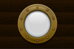 Illustration of a bronze or brass ship porthole (transparency in additional format only) Royalty Free Stock Photos