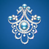 brooch with pearls and precious stones. Filigree v vector illustration