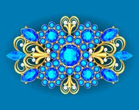 Illustration  brooch pendant with  and precious stones. Filigree Royalty Free Stock Image