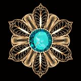 brooch pendant with  and precious stones royalty free stock images