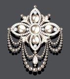 brooch vintage with precious stones and pearls, glamour royalty free illustration