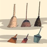 Illustration with brooms and dustpans Royalty Free Stock Photo