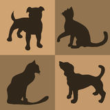 Illustration. Brown background with dogs and cats. Pattern. Stock Images