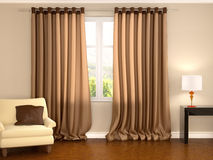 Illustration of brown curtains in warm interior Stock Images