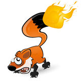 Fox with tail on fire. Illustration of brown fox with his tail on fire isolated on white background Royalty Free Stock Images