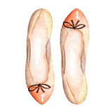 Illustration brown women's ballet shoes with a bow. Painted hand-drawn in a watercolor on a white background. Illustration  brown women's ballet shoes with a Royalty Free Stock Photo