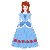 Illustration of brunette noblewoman in ancient dress 19 century Royalty Free Stock Images