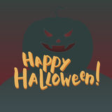 Illustration with brush lettering. Hand-drawn words happy halloween and scary pumpkin on background Royalty Free Stock Photography