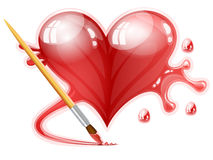 Illustration of a brush painting a heart Stock Photo
