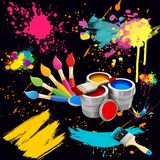 An illustration of brushes for painting, paint cans, various blobs, brushstrokes. Abstract background Royalty Free Stock Image