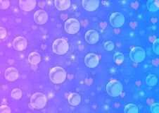 Abstract Floating Bubbles, Hearts and Sparkles in Blue and Violet Gradient Background. Illustration of bubbles, hearts and sparkles floating in blue and violet royalty free illustration