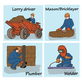 Illustration with builders. Decorative background with illustration of construction workers royalty free illustration