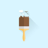 Illustration of  building brush icon. With mountains picture. Flat style Stock Image