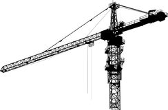 Isolated black tower crane Royalty Free Stock Image